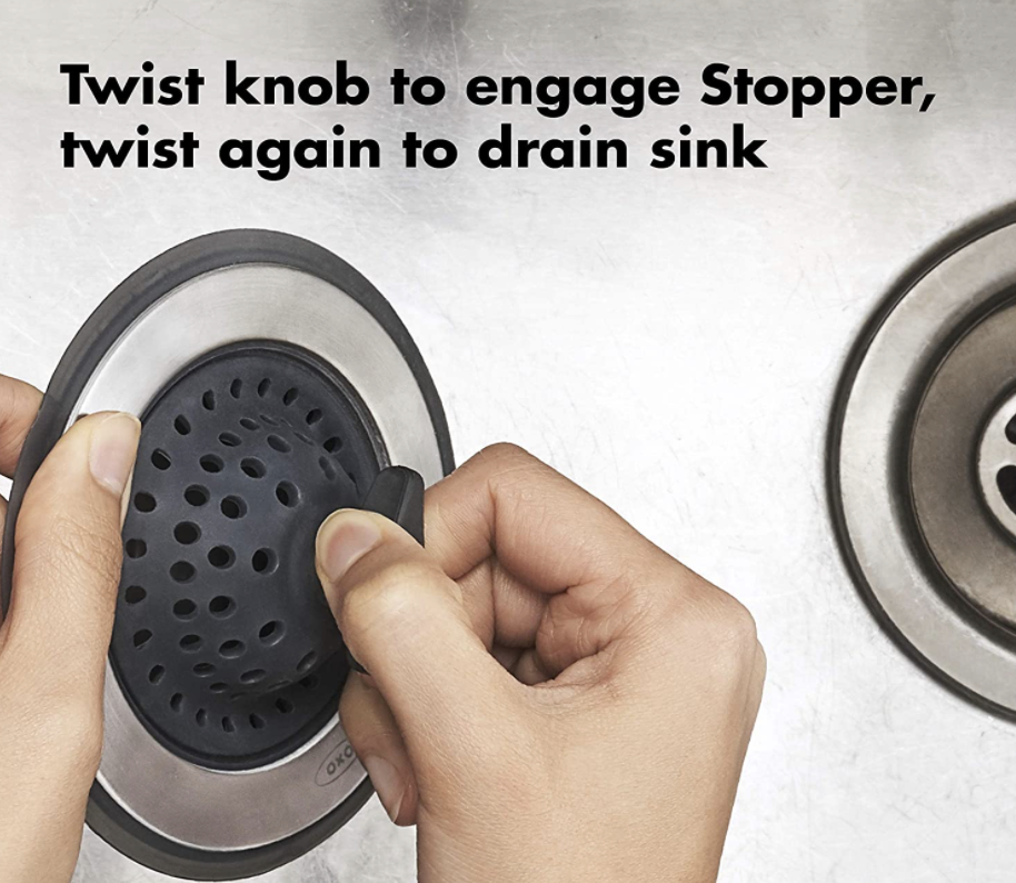 person using silicone sink strainer and stopper and it says