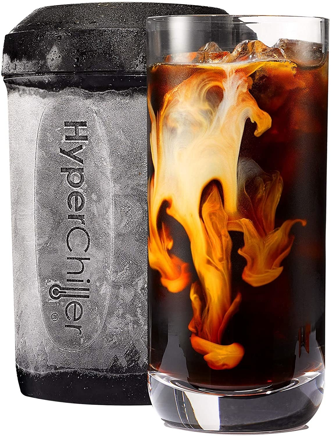 The frozen black canister next to a glass of iced coffee