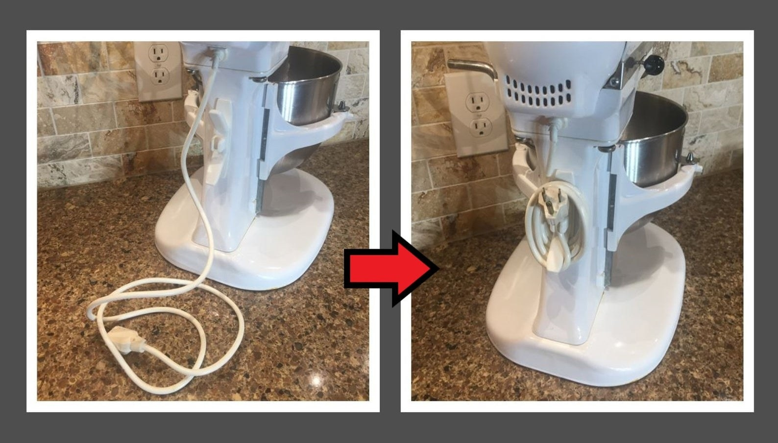 A white cord organizer attached to the back of a white Kitchen-Aid mixer with the cord wrapped around it