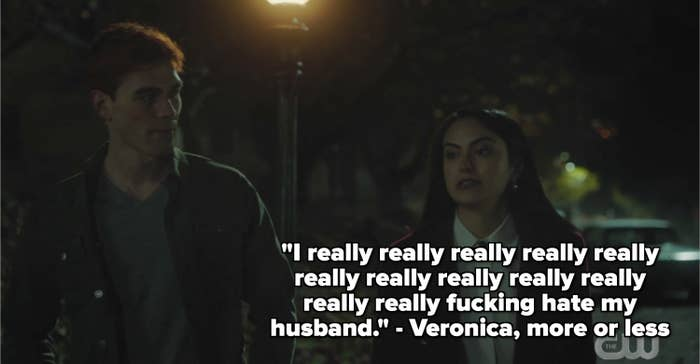 Veronica and Archie walking with a caption about how veronica really really really hates her husband