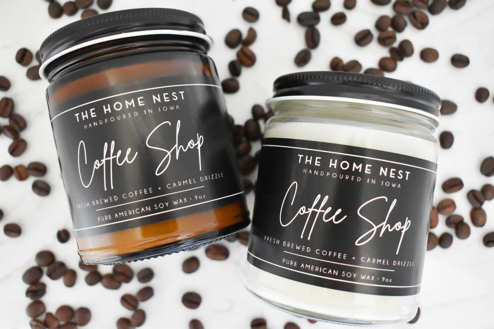 two nine-ounce caramel drizzle coffee candles in  amber and clear jars