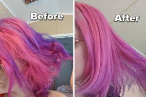 reviewer's before-and-after of their dyed hair looking frizzy and split compared to it looking smooth and even