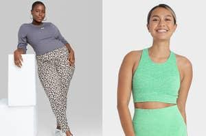 model in leopard leggings and model in green sports bra
