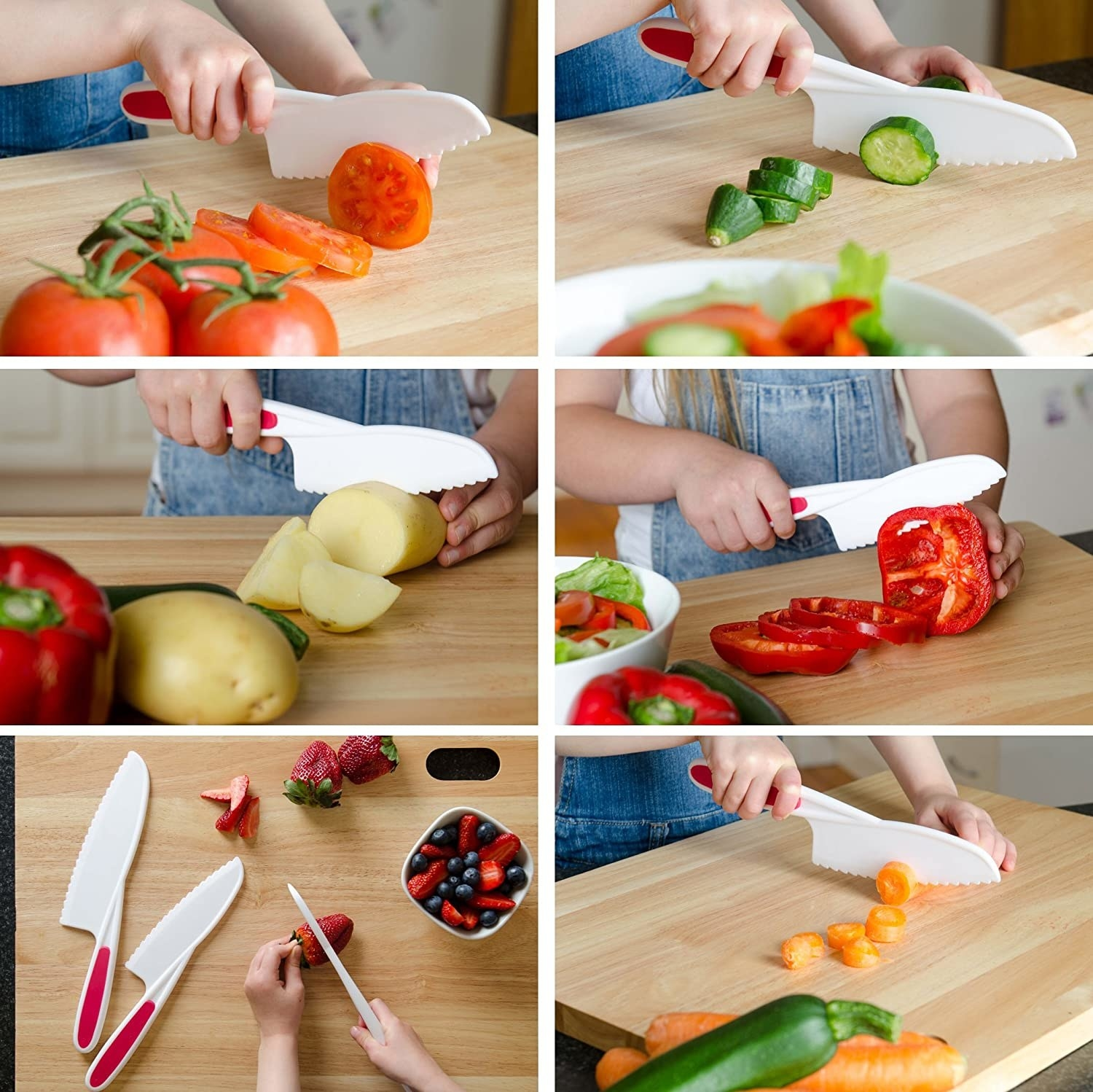 Three child-sized safety knives with a kid cutting potatoes, peppers, carrots, tomatoes, and cucumber