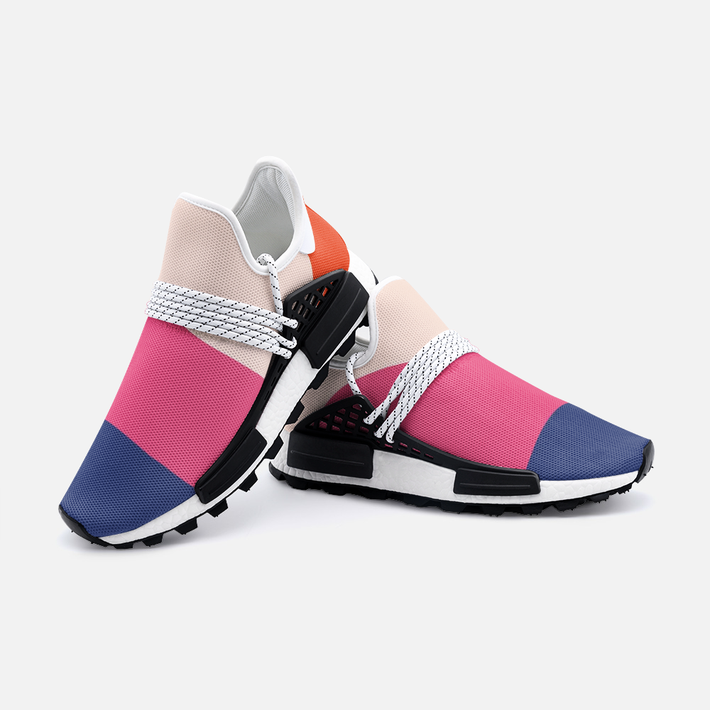 the blue, pink, and light pink stretchy sneakers with laces across the top