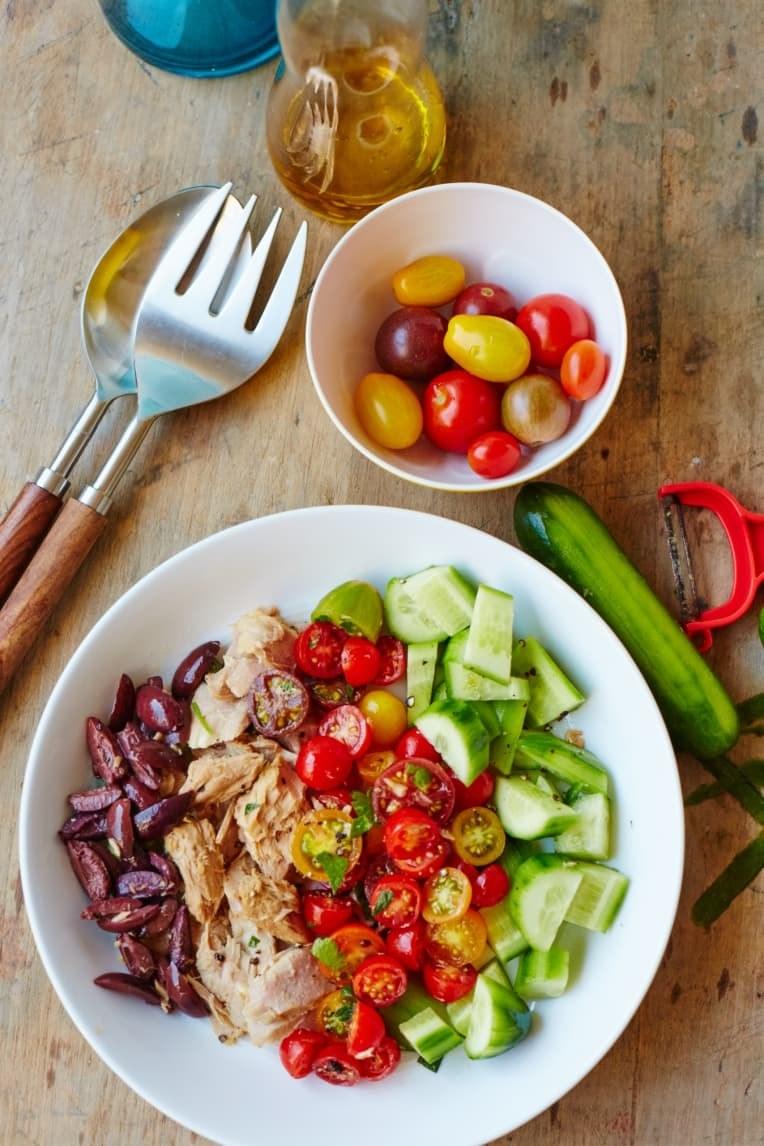 Tuna salad, cucumbers, and tomato salad