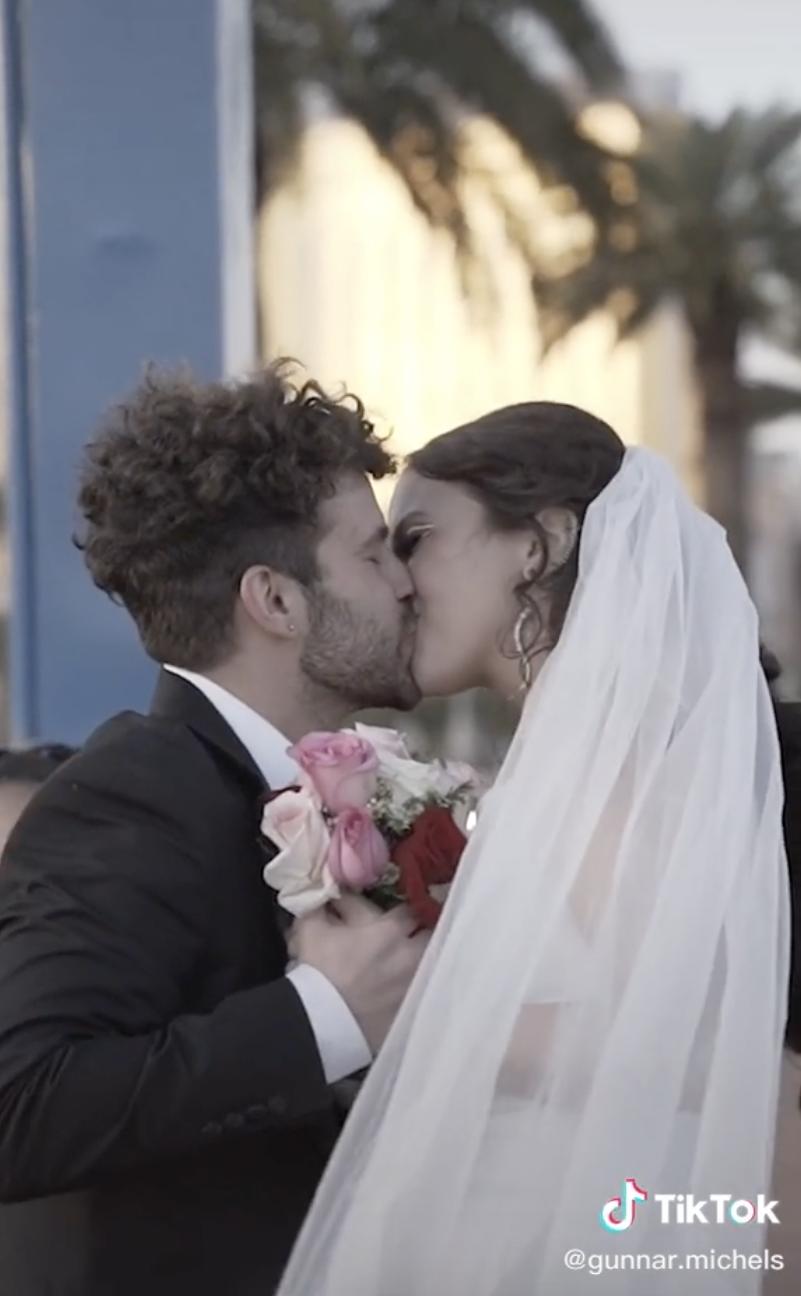 Gunnar and Danielle kissing on their wedding day