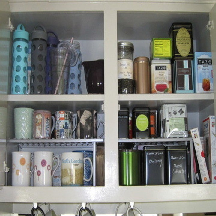 Another reviewer showing a two shelf cabinet transformed to four with the expandable shelves and using it for pantry items