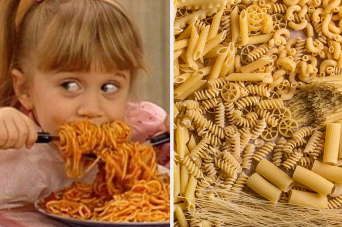 """Michelle from """"Full House"""" eating spaghetti and dry pasta shapes"""