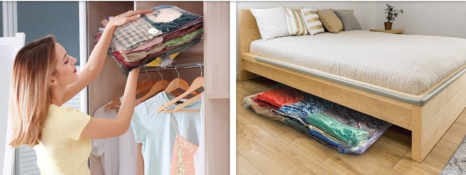 Two images showing neatly stored clothes in the vacuum-seal bags