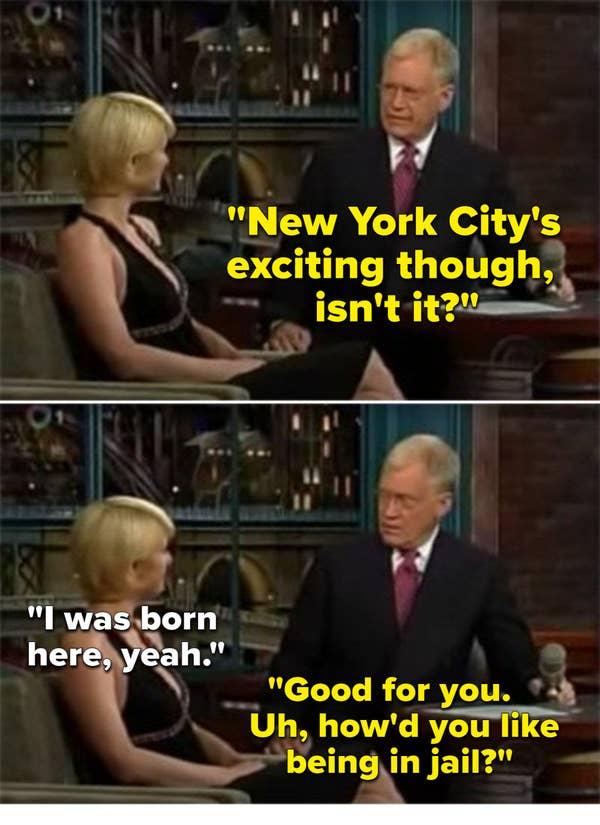 David Letterman bercanda tentang Paris Hilton yang dipenjara.