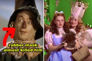 Side-by-side of the Scarecrow and Dorothy with Glinda