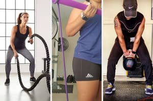 A model using a strength training rope; a reviewer using a pilates bar; a reviewer using a kettlebell