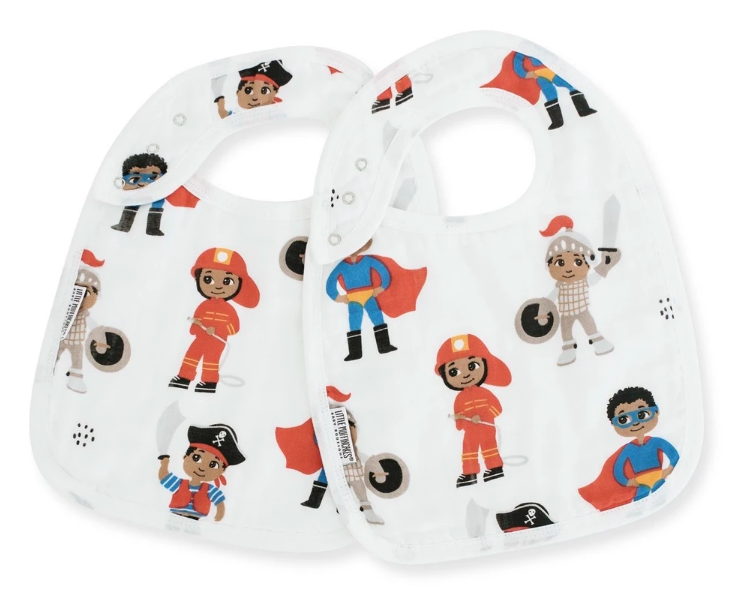 Two white bibs with superhero, knight, firefighter, and pirate characters
