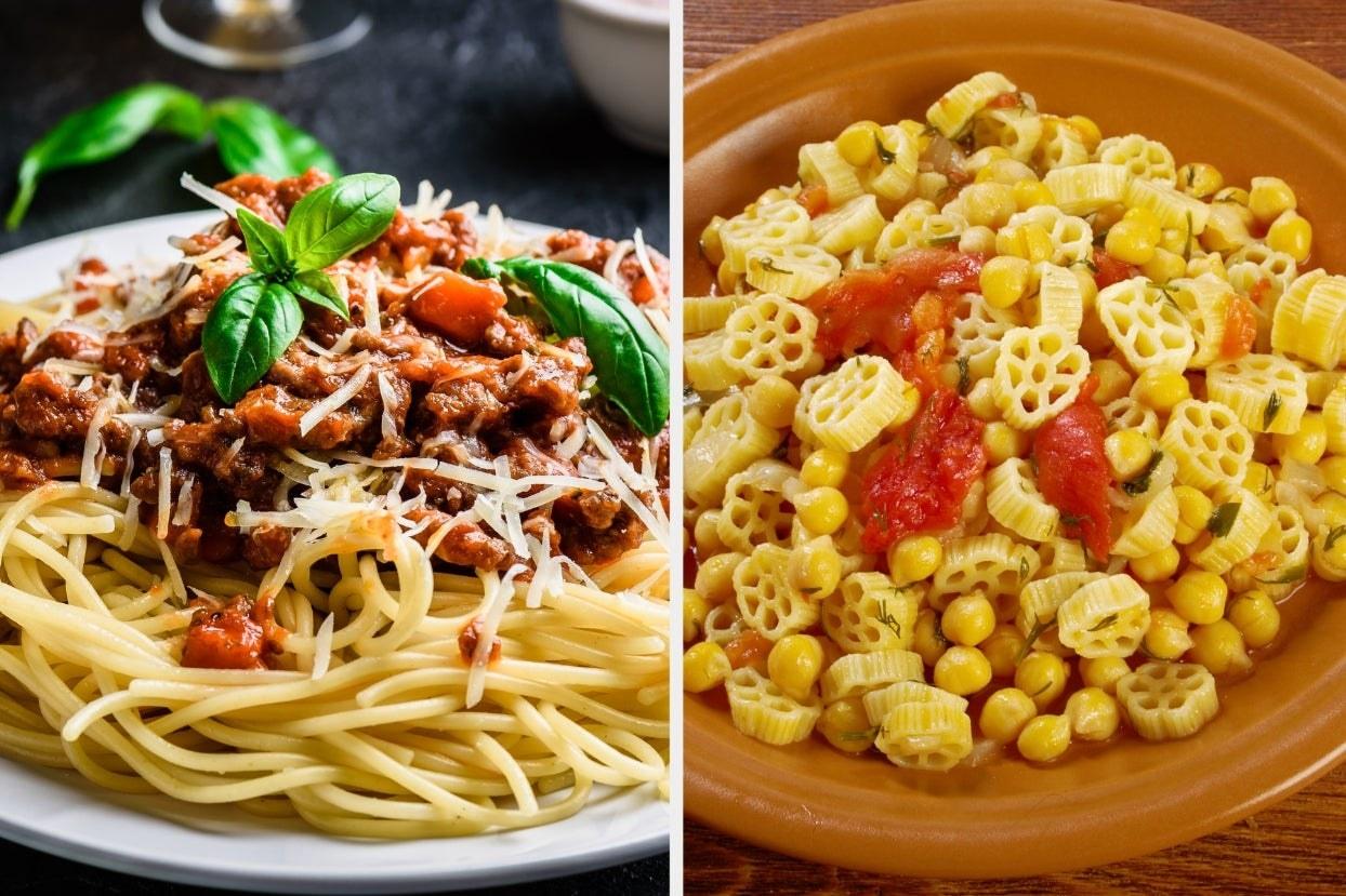 Spaghetti bolognese and pasta e ceci