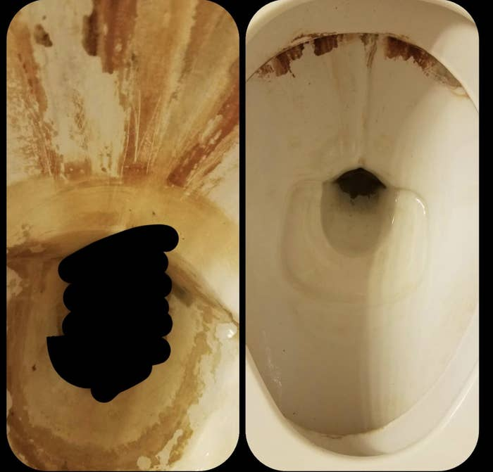 on the left, a reviewer's toilet looking really gross and dirty, and on the right, the toilet is almost entirely clean