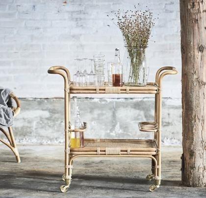 straw wheeled bar cart