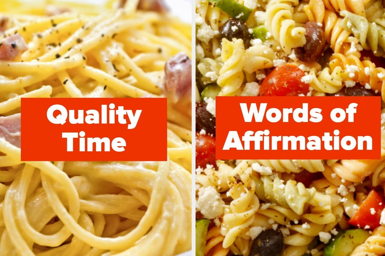 """Carbonara with the words """"Quality time"""" and pasta salad with the words """"words of affirmation"""""""