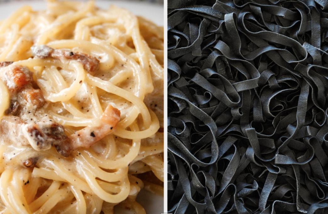 Pasta carbonara and squid ink tagliatelle