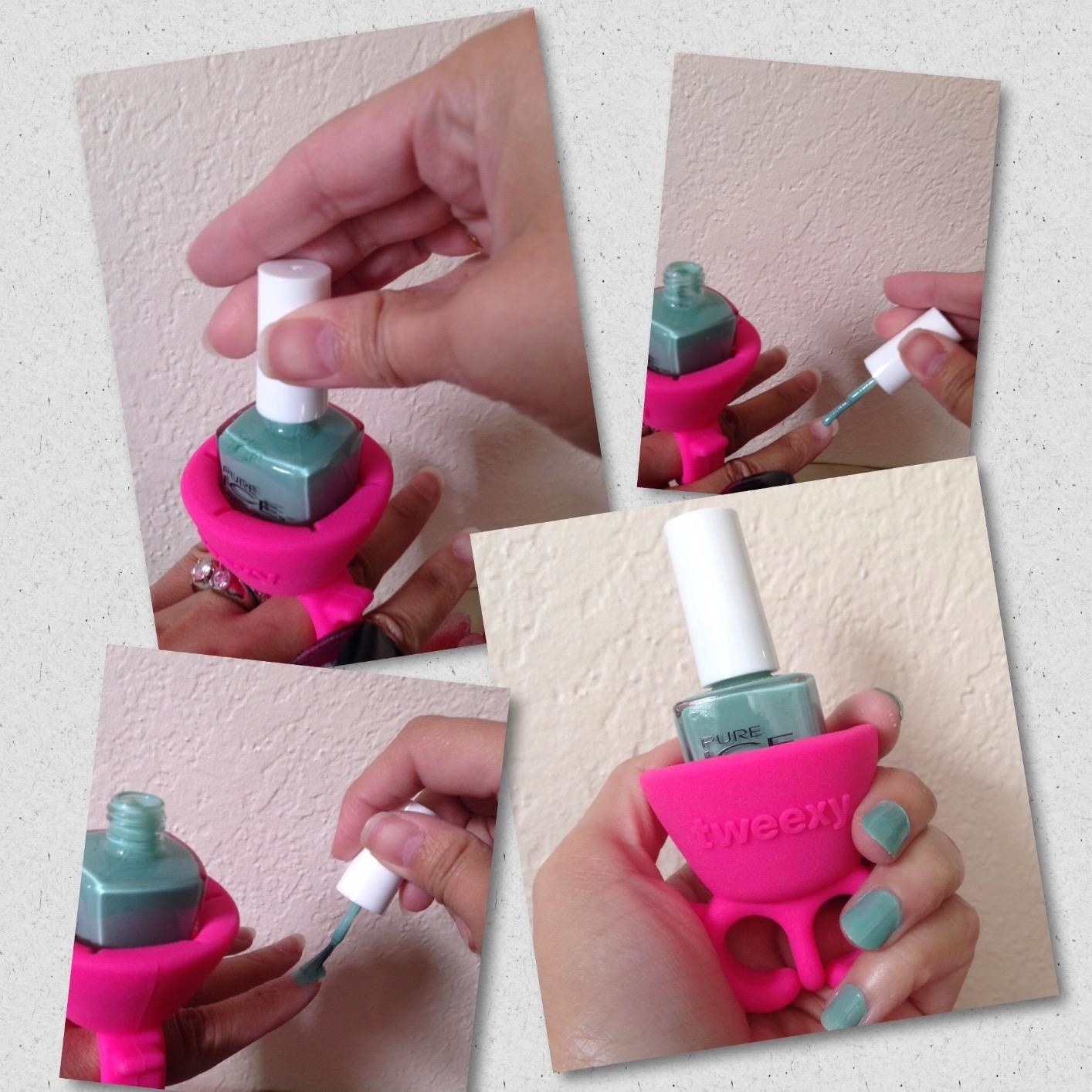 Reviewer using product to paint nails