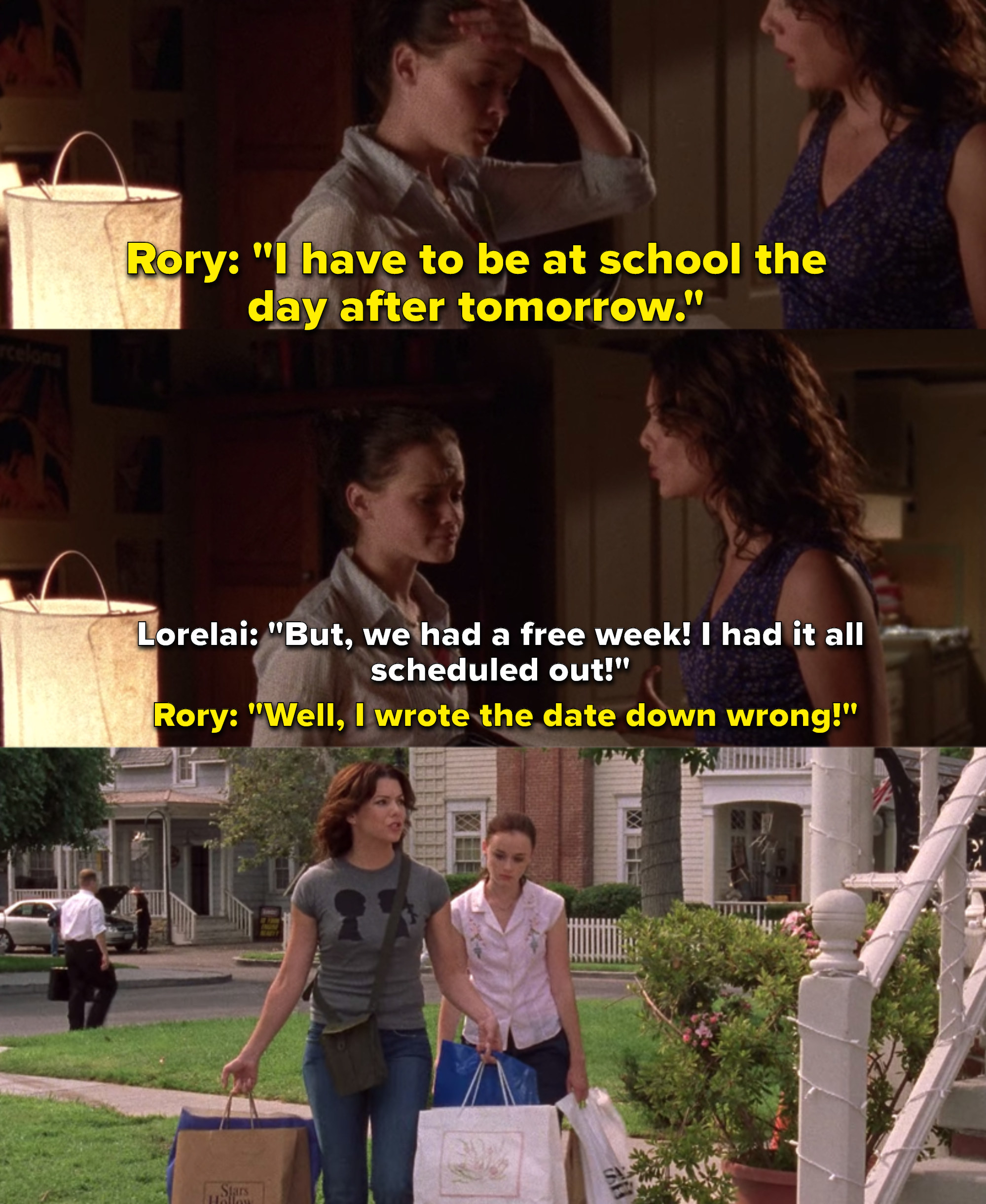 """Lauren Graham as Lorelai Gilmore and Alexis Bledel as Rory Gilmore in the show """"Gilmore Girls."""""""