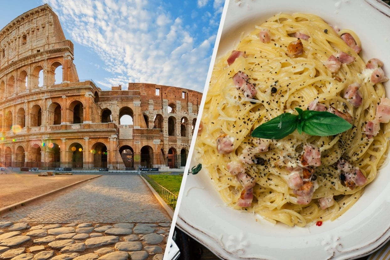 The colosseum and spaghetti carbonara