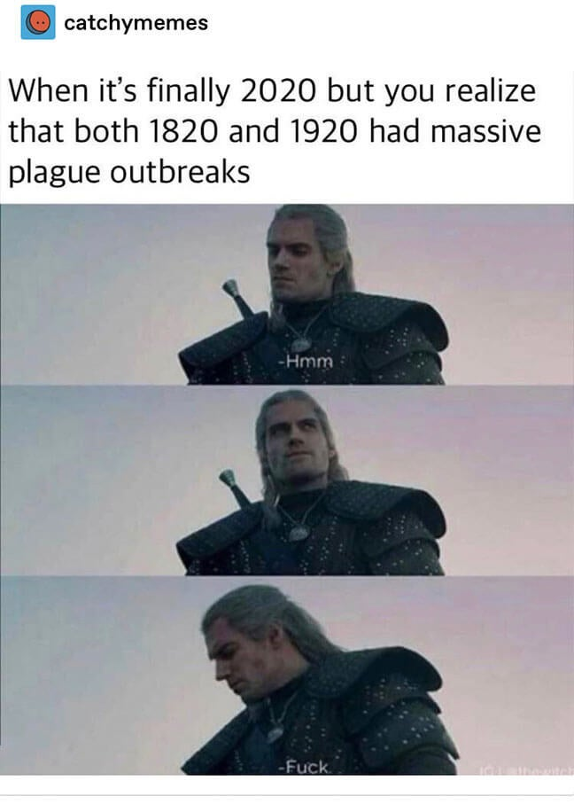 """meme saying """"when it's finally 2020 but you realize both 1820 and 1920 had massive plague outbreaks"""" with Geralt from The Witcher saying """"fuck"""""""