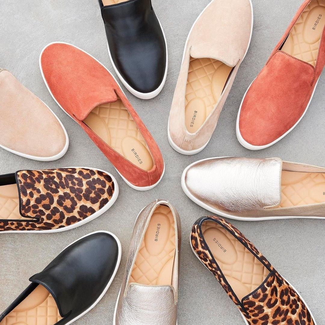 slip on sneakers in cheetah print, metallic silver, black, suede nude, and suede orange