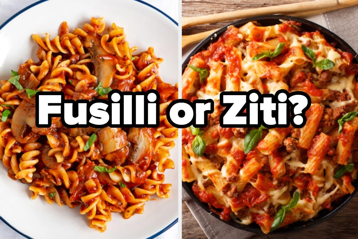 Fusilli with mushrooms and tomato sauce and baked ziti