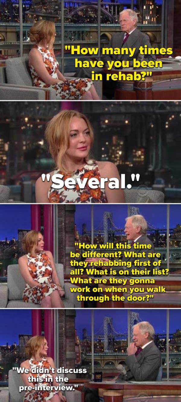 David Lettermen mengajukan pertanyaan Lindsay Lohan tentang rehabilitasi yang katanya tidak disetujui