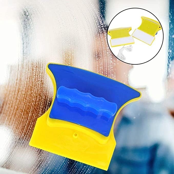 Blue and yellow cleaning sponge.