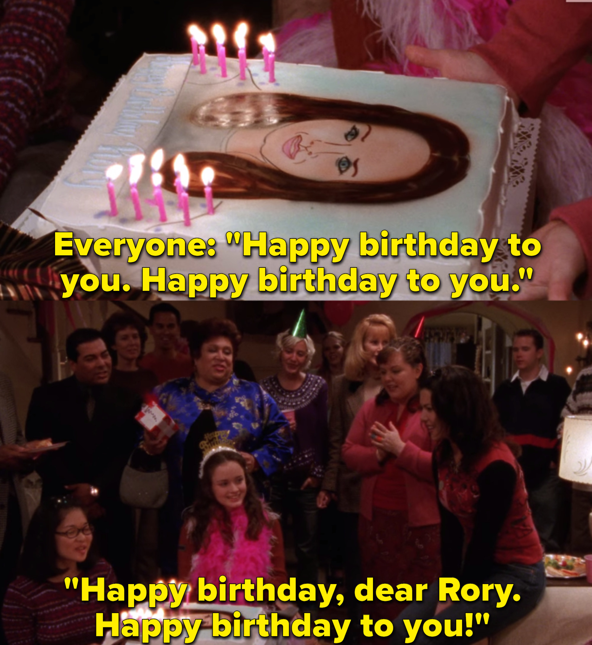 """The cast of """"Gilmore Girls"""" sings Rory happy birthday during an episode of the show."""