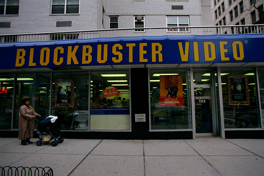 A shot of the outside of a Blockbuster Video store in New York City in 1998