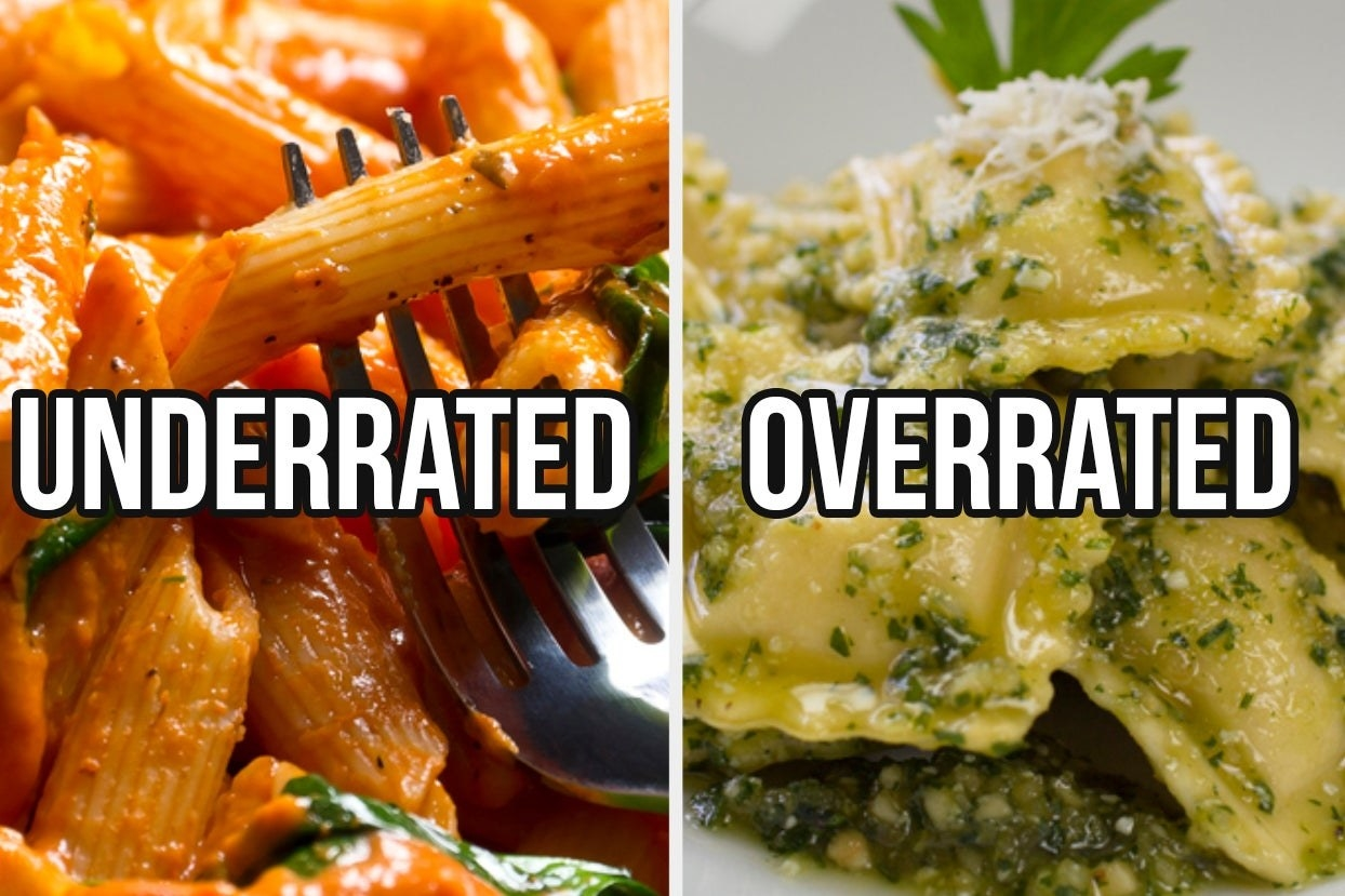 """Penne alla vodka with the words """"underrated"""" and pesto ravioli with the words """"overrated"""""""
