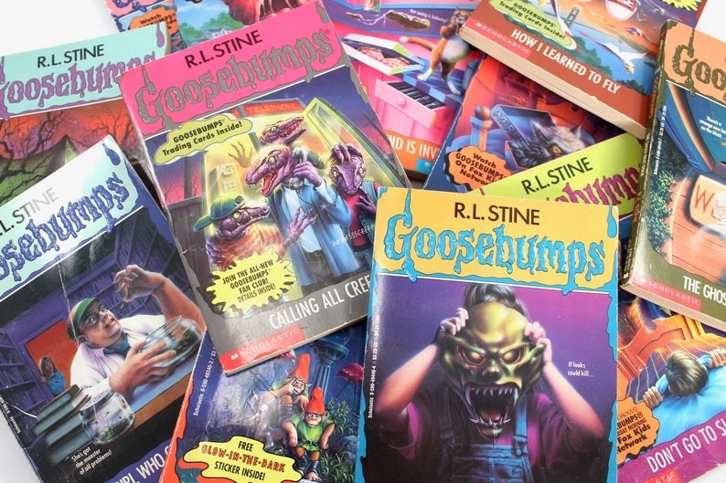 A pile of Goosebumps books