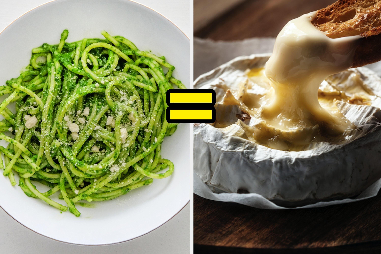 Pesto spaghetti equals baked brie