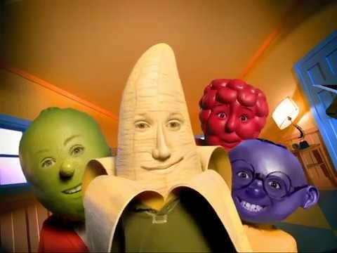 A screenshot from the Gushers commercial of kids heads turned into fruit