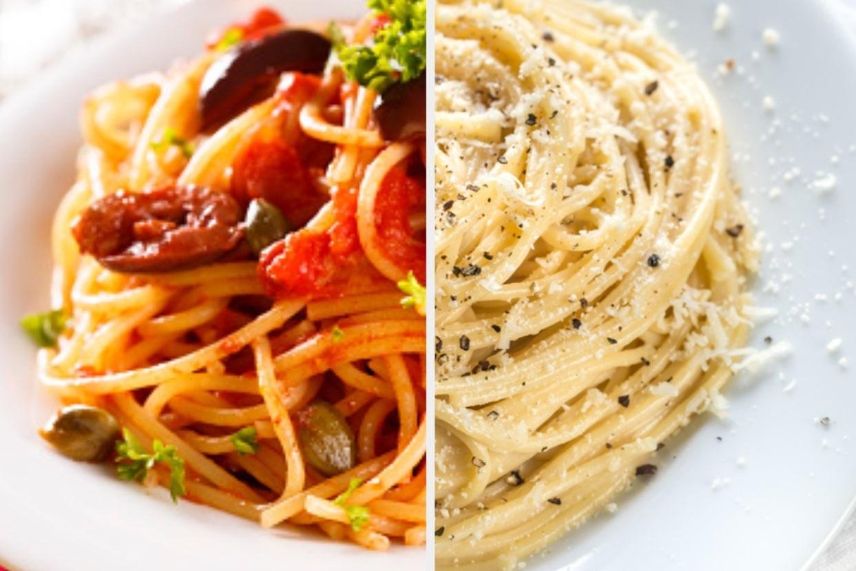 Pasta puttanesca and cacio e pepe