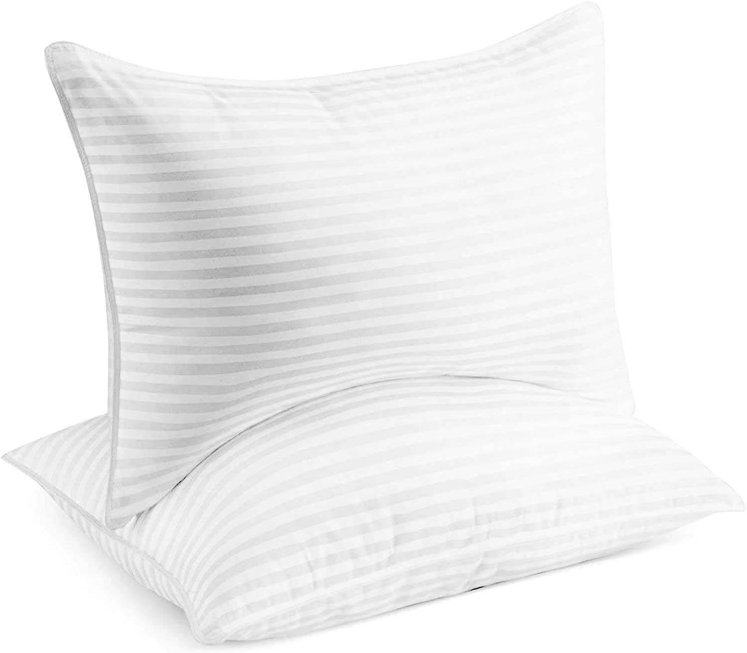 two white pillows with vertical gray stripes