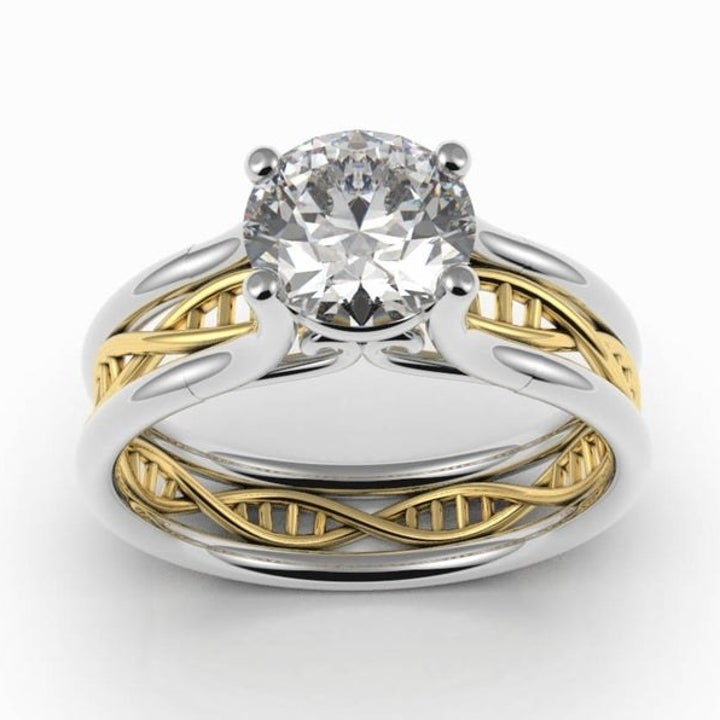 The same ring with a gold DNA insert in the band
