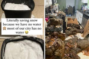 people boiling snow and a kitchen caved in