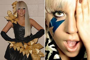 "Lady Gaga in 2008, and Lady Gaga in the ""JustDance"" music video"