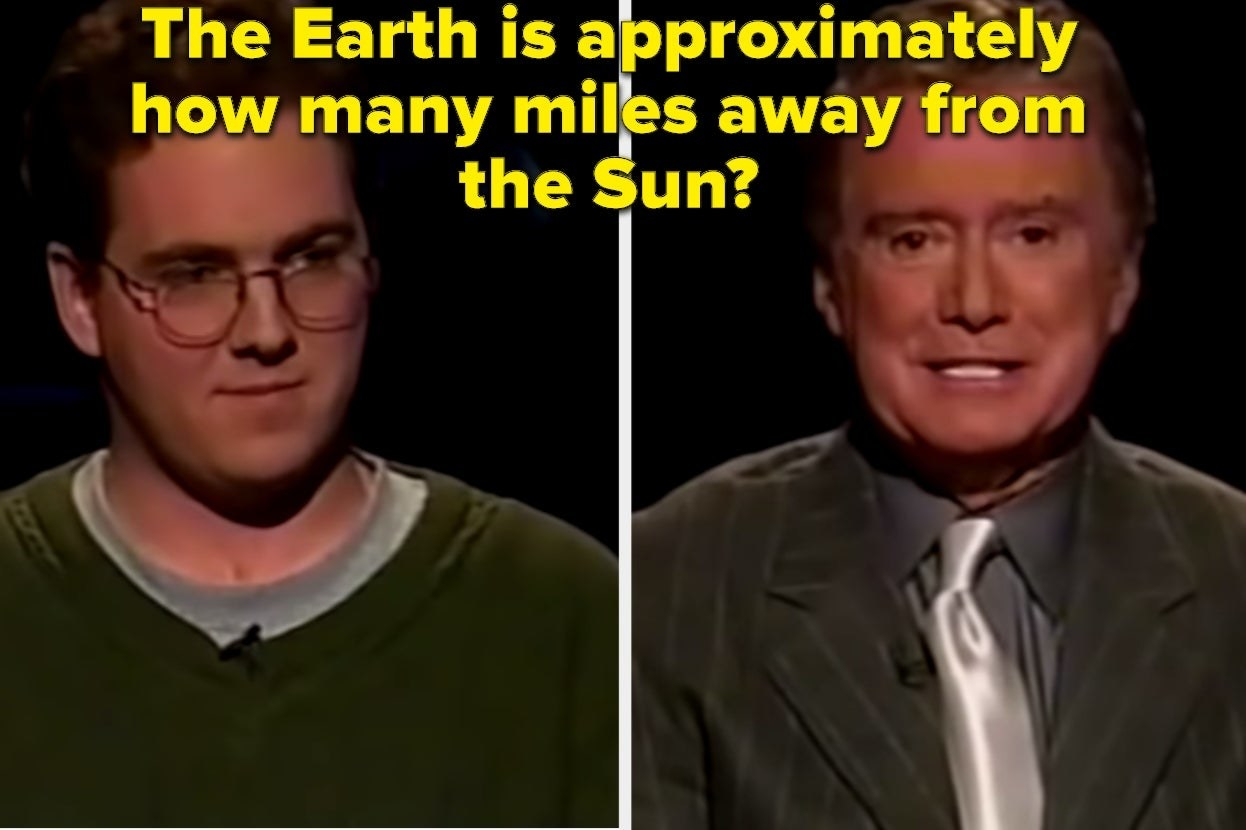 """""""Who wants to be a millionaire"""" host and contestant with the words """"The Earth is approximately how many miles away from the Sun?"""""""