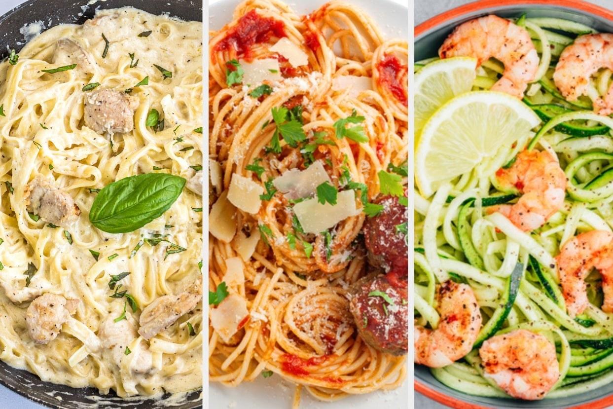 Chicken alfredo pasta, spaghetti and meatballs, and zucchini noodles with shrimp
