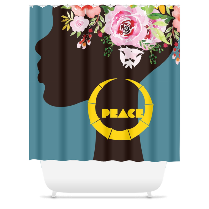 "curtain with a dark person's profile silhouette with flowers on their head and a single bamboo earring in their ear that says ""peace"" in the middle"