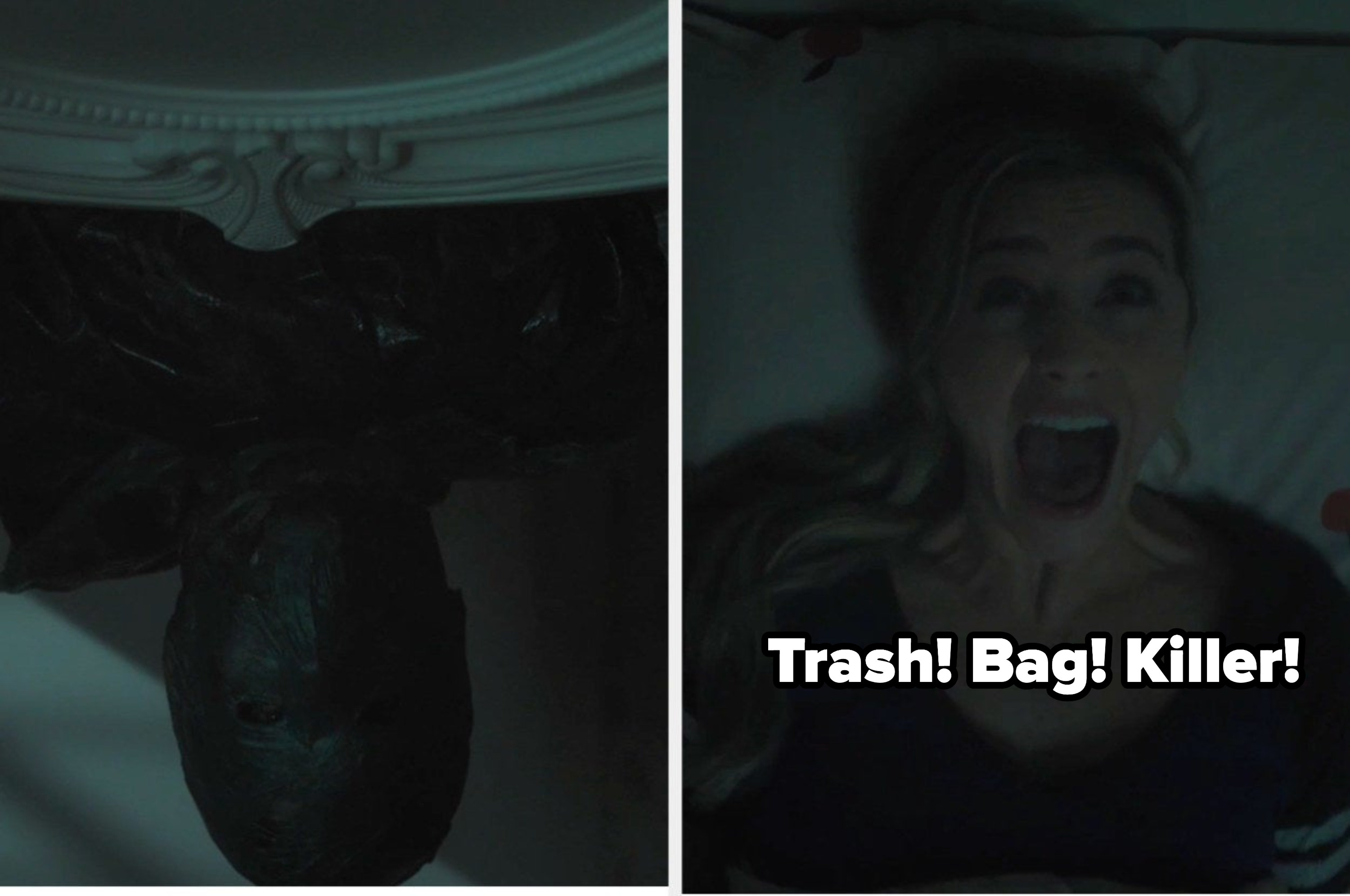 Betty having a nightmare about the trash bag killer with the caption trash bag killer