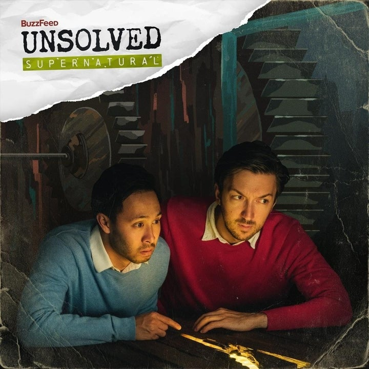 the buzzfeed unsolved team in a digitally drawn dark basement looking into a lit crevice in the floorboards