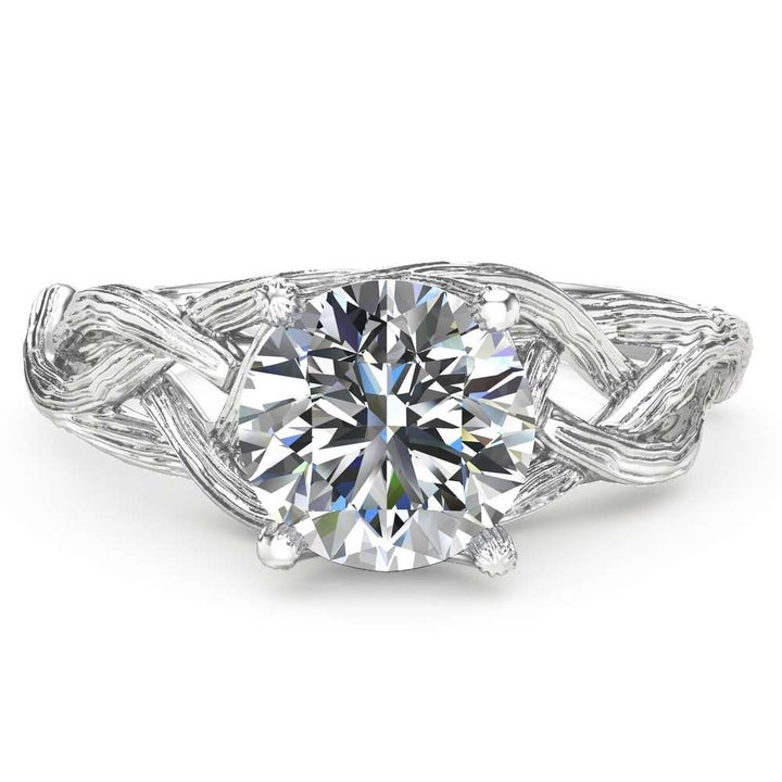 A topdown view of the same ring showing the moissanite stone