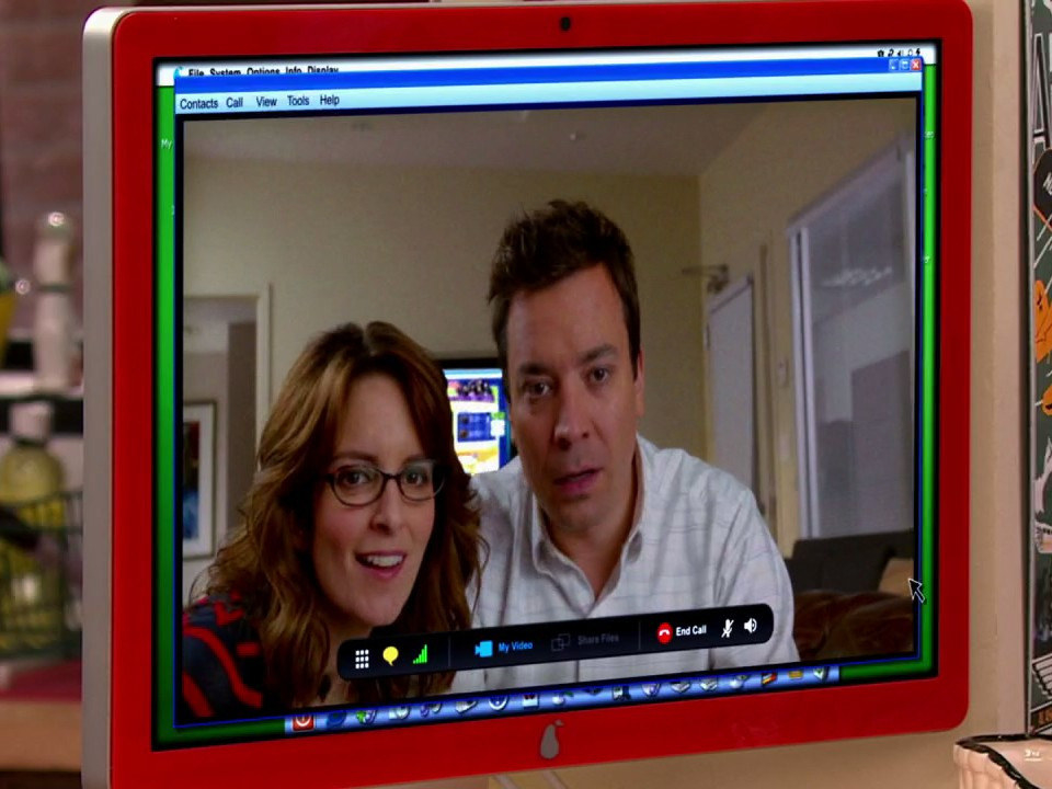Jimmy Fallon and Tina Fey on Carly's computer screen during a video call