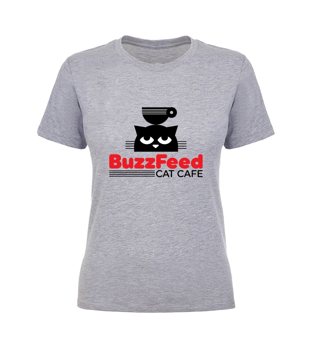 the heather gray buzzfeed cat cafe t-shirt